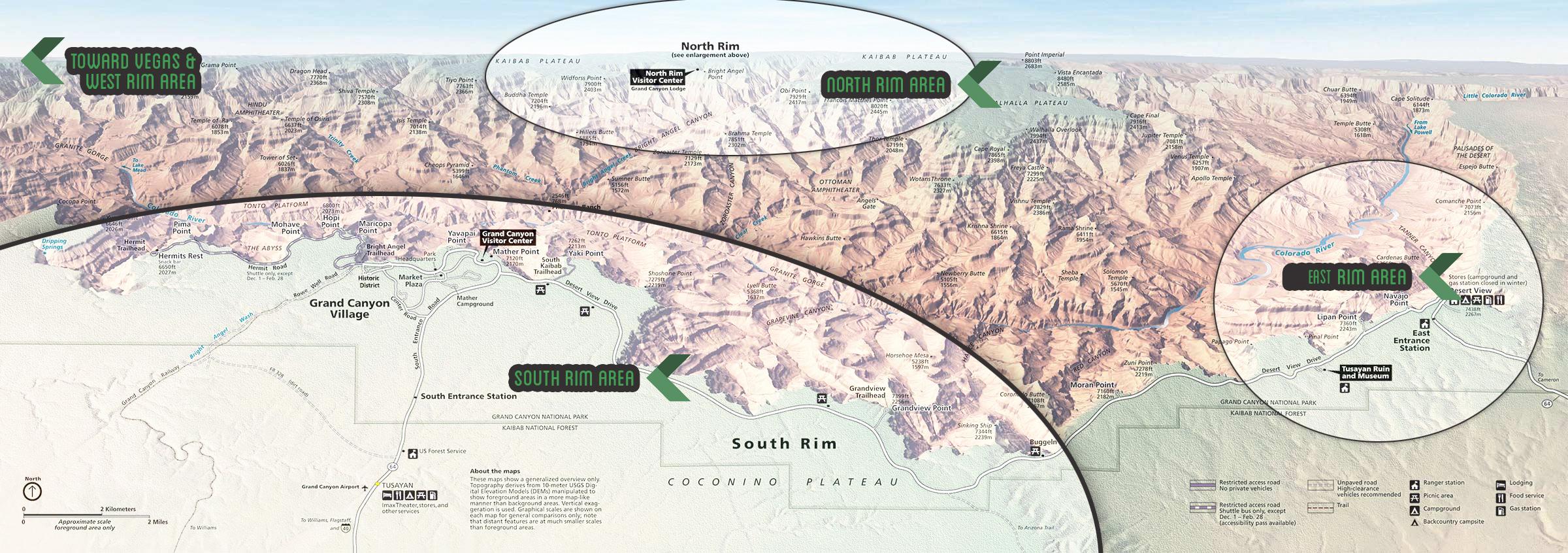 Should I Do North South East Or West Rim Grand Canyon Grand - Grand canyon west rim map